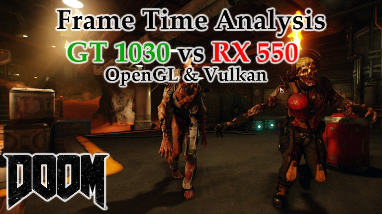GT 1030 vs RX 550 Frame Time Analysis w/ G4560 - DOOM OpenGL & Vulkan [ARGENT FACILITY]