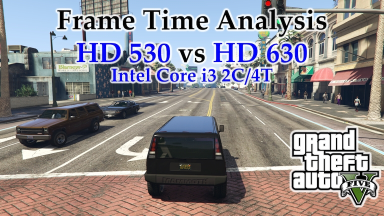 Intel i3 Integrated Graphics - HD 530 vs HD 630 Frame Time Analysis - Grand Theft Auto V [BENCHMARK]